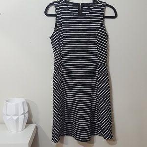 J. Crew black white striped A Line midi dress